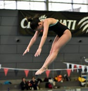 Wyoming's Grace Courtney was the first-place winner in the girls diving finals at the 2020 Southwest Ohio Swimming and Diving Classic, Jan. 19, 2020.