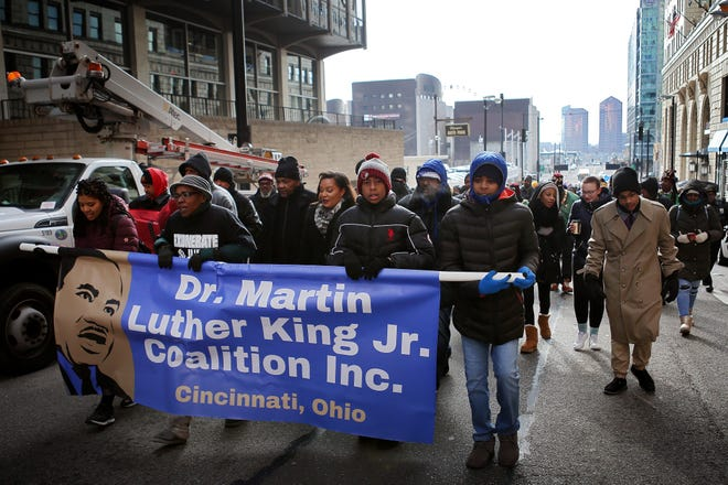 It will be dry but cold during the Martin Luther King Jr. Day march and motorcade of buses and personal vehicles in Downtown Cincinnati on Monday.