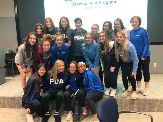 Cathy Andruzzi, a leadership and performance coach, meets with PDA student-athletes