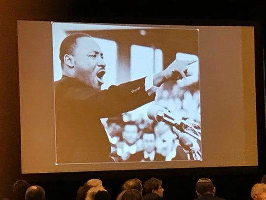 An image of Dr. Martin Luther King Jr. was shown Monday during NJ Commissioner of Education Lamont Repollet's speech during the 23rd annual Franklin Township Community Breakfast.