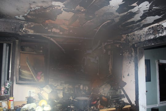 The interior of a Hyatt Street home in the Avenel section of Woodbridge damaged by fire.