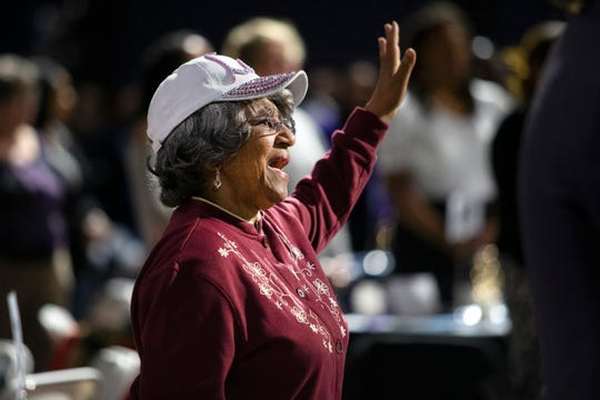 "John R. Grubb Community YMCA Board member Sharon K. Brown sings along to ""Lift Every Voice and Sing"", a hymn commonly referred to as the Black national anthem at the 7th Annual Dr. Martin Luther King Jr. Prayer Breakfast on Jan. 20, 2020 at the Knapp Center at Drake University."