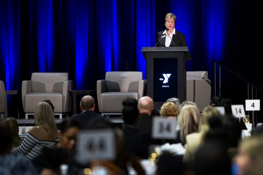 CEO of the YMCA of Greater Des Moines Leisha Barcus announces three community leader awardees of the Make-A-Difference award at the 7th Annual Dr. Martin Luther King Jr. Prayer Breakfast on Jan. 20, 2020 at the Knapp Center at Drake University.