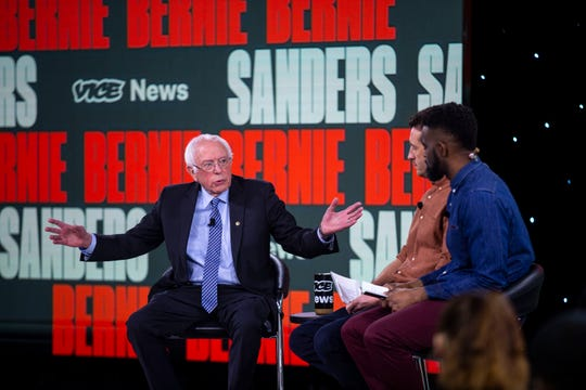 U.S. Sen. Bernie Sanders, I-Vt., speaks to the crowd and takes questions during the Brown and Black Forum on Monday, Jan. 20, 2020, at the Iowa Events Center in Des Moines.