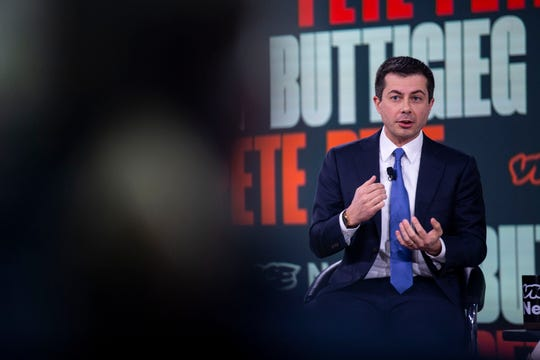 Pete Buttigieg, former South Bend, In., Mayor, answers questions during the Brown and Black Democratic Presidential Forum on Monday, Jan. 20, 2020, at the Iowa Events Center in Des Moines.