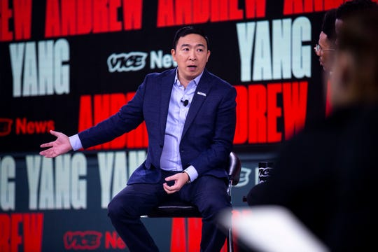 Andrew Yang speaks to the crowd and takes questions during the Brown and Black Forum on Monday, Jan. 20, 2020, at the Iowa Events Center in Des Moines.