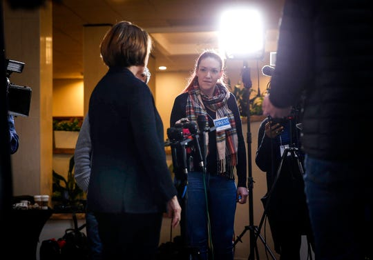 Des Moines Register Iowa Columnist Courtney Crowder asks U.S. Sen. Amy Klobuchar about Iowa's status as the first in the nation caucus, following the Minnesota presidential candidate's speech at the Iowa State Education Association legislative conference at the West Des Moines Sheraton.