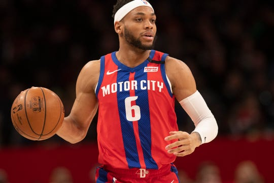 Pistons guard Bruce Brown dribbles during the first half Jan. 20, 2020, in Washington.