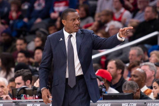 Dwane Casey during the second half of the Pistons' 106-100 loss to the Wizards on Jan. 20, 2020, in Washington.
