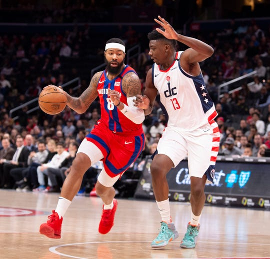 Pistons forward Markieff Morris dribbles as Wizards center Thomas Bryant defends during the first half on Monday, Jan. 20, 2020, in Washington.