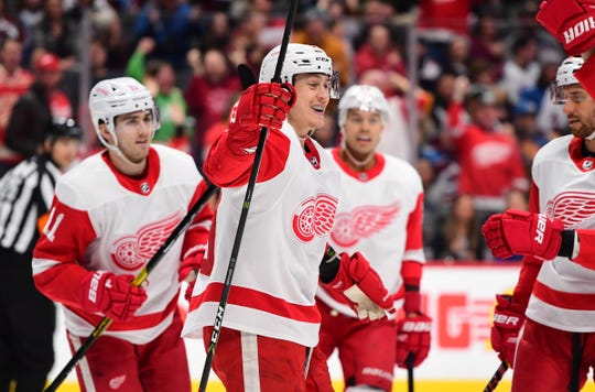 Red Wings left wing Tyler Bertuzzi celebrates his goal in the first period on Monday, Jan. 20, 2020, in Denver.