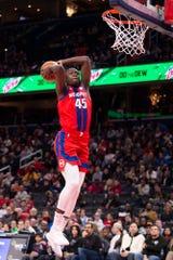 Pistons forward Sekou Doumbouya goes to dunk during the first half on Monday, Jan. 20, 2020, in Washington.