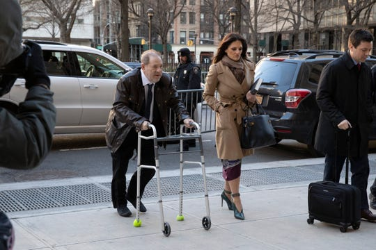 Harvey Weinstein and his attorney Donna Rotunno arrive at a Manhattan courthouse to attend jury selection for his trial on rape and sexual assault charges, Friday, Jan. 17, 2020 in New York.