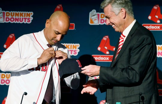 Former Tigers GM Dave Dombrowski, right, hired Alex Cora, left, to be the Red Sox manager in Nov. 2017. In 2018, the Red Sox won the World Series.