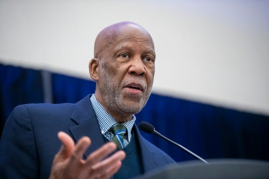 """Little Rock Nine member Terrence Roberts, speaks during the """"Rise Up Against Injustice"""" President's luncheon in honor of Martin Luther King Jr."""