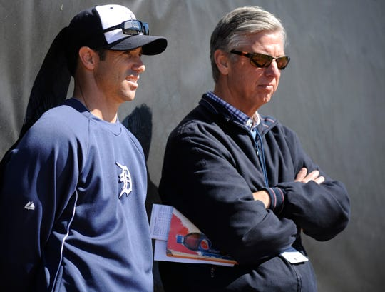 Former Tigers president Dave Dombrowski, right, with former Tigers manager Brad Ausmus in 2014, might find getting a job in the major leagues tough if it's found out he had any connection in the sign-stealing scandal.
