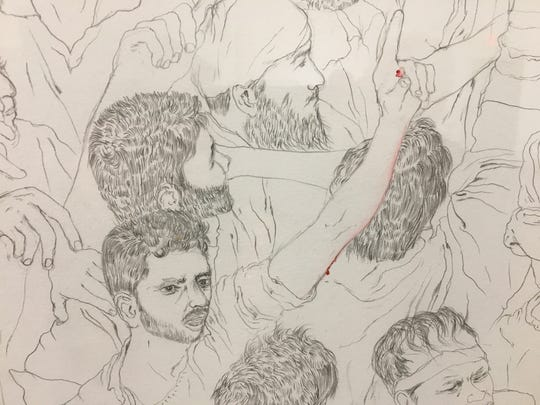 "Detail from Sajeev Vadakoottu Visweswaran's ""Witness Blinding I"" at Detroit's Scarab Club."