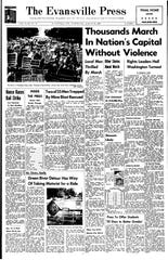 The front page of the Aug. 28, 1963 edition of the Evansville Press