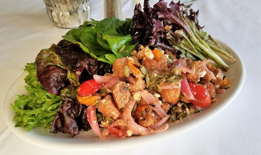 A winter Panzanella salad at The Red Geranium in New Harmony.