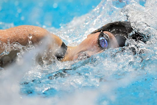Tennessee's Erika Brown competing in the 100 meter freestyle finals at the TYR Pro Swim Series at the Allan Jones Aquatic Center in Knoxville on Sunday, January 19, 2020.
