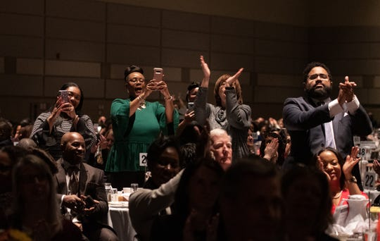 People react to international recording artist Ledisi, during her performance Monday, Jan. 20, 2020, during the 35th Annual Martin Luther King Jr. Day of Celebration Luncheon at the Lansing Center.