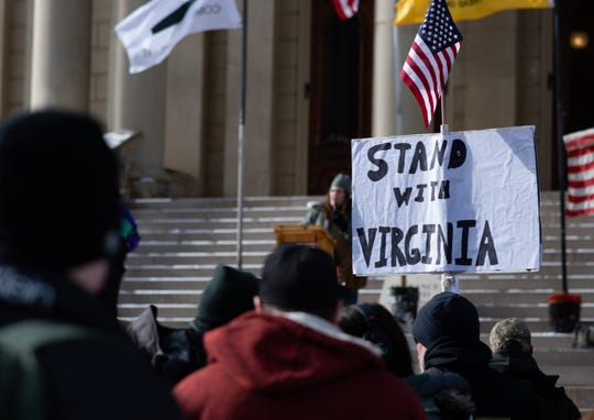 Dee Dee DuBose, a three-year member of the Jackson Well-Armed Women organization, speaks Monday, Jan. 20, 2020, during a rally at the State Capitol where Second Amendment advocates gathered in support of fellow advocates rallying in Virginia.