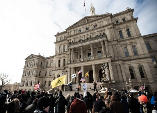 About 200 Second Amendment supporters rallied on Jan. 20, 2020, at the State Capitol, in support of fellow gun rights advocates in Virginia.