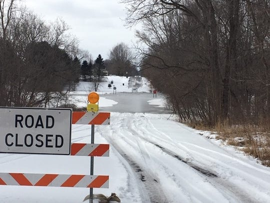 The intersection of Canal and Columbia roads is flooded on Jan. 20, 2020, according to a post from the Eaton County Sheriff's Department.