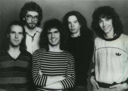 The Pat Metheny Group, from left: Paul Wertico (drums), Steve Rodby (bass), Metheny, Lyle Mays (keyboards and synthesizers), and Pedro Aznar (percussions and vocals).