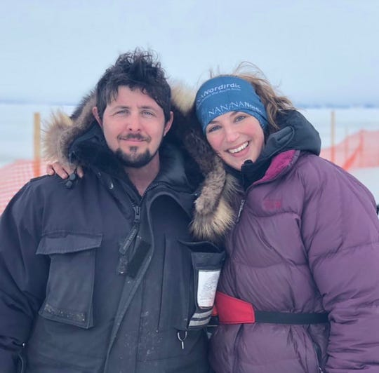 Quince Mountain, left, and Blair Braverman after completing the Kobuk 440, a 440 mile race through the Alaskan arctic.