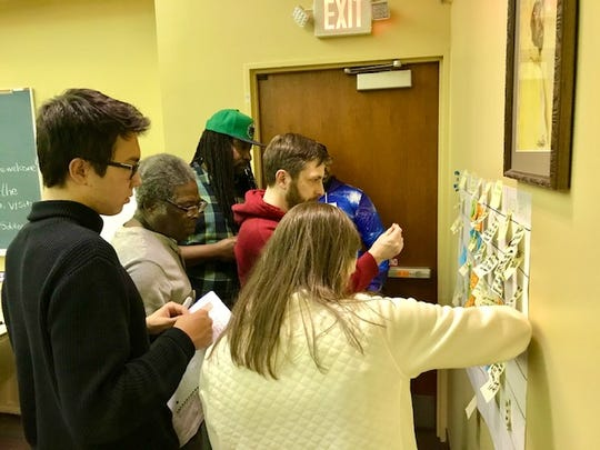 Participants in last week's Listen MKE event at the Center Street Library worked on a group project to brainstorm ways to improve Milwaukee.