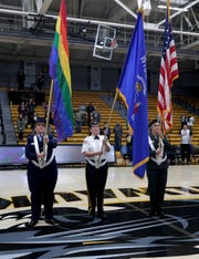 From left, Kimberly Stuart, Veterans for Diversity CEO, Denise Northway, American Legion Post 18 Adjutant, and Dawn Strobel, Color Guard officer, present the colors as they are honored as part of a University of Wisconsin-Milwaukee Women's Basketball Pride Game at Klotche Center on the University of Wisconsin-Milwaukee campus in Milwaukee on Sunday, Jan. 19, 2020. The event was hosted by Veterans for Diversity and was opened by the Veterans for Diversity's Color Guard.