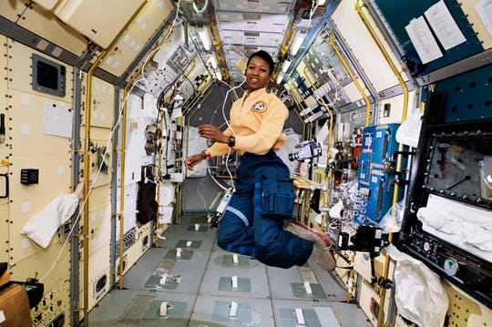 Dr. Mae Jemison in space.
