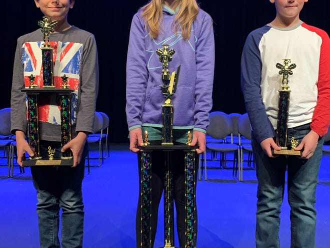 Mountain Home Public Schools recently hosted the Baxter County Spelling Bee, which was won by Pinkston Middle School sixth-grader Bailey Byrd. She will now advance to the state Spelling Bee, which will be held at 9 a.m. on Saturday, Feb. 1 at Cabot High School's Fine Arts Auditorium. The State Bee is sponsored by The Electric Cooperatives of Arkansas. Show above are (left to right) second-place finisher Aiden Burns, fifth grade Hackler Intermediate School; champion Bailey Byrd, sixth grade Pinkston Middle School; and third-place finisher Asher Alloway, third grade Hackler Intermediate School.