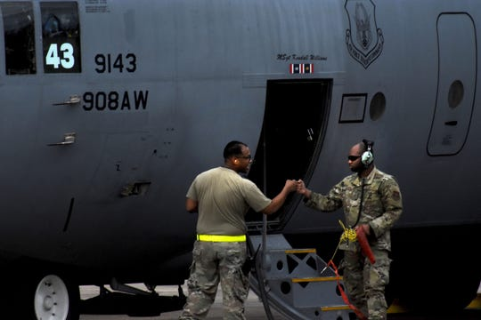 C-130's from the 908th Airlift Wing return to Maxwell Air Force Base. The planes temporarily relocated earlier last week as part of the weather evacuation plan.
