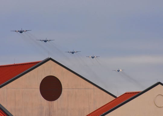 C-130s from the 908th Airlift Wing return to Maxwell Air Force Base. The planes temporarily relocated earlier last week as part of the weather evacuation plan.