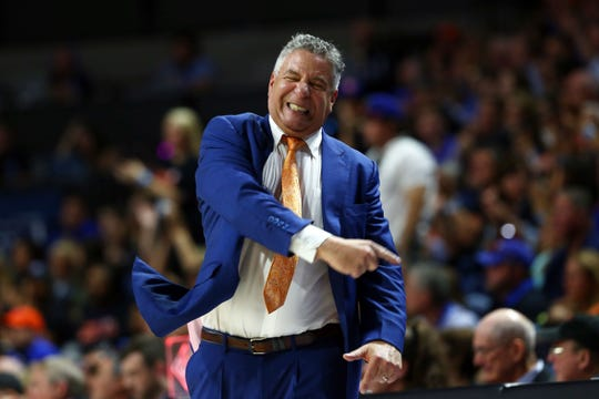 Auburn coach Bruce Pearl reacts during the Tigers' game against Florida on Jan. 18, 2020, in Gainesville, Florida. Auburn and Iowa State play Saturday in the Big 12/SEC Challenge.