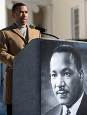 Montgomery Mayor Steven Reed speaks on the steps of the State Capitol Building during the Martin Luther King, Jr., day celebration in Montgomery, Ala., on Monday January 20, 2020.