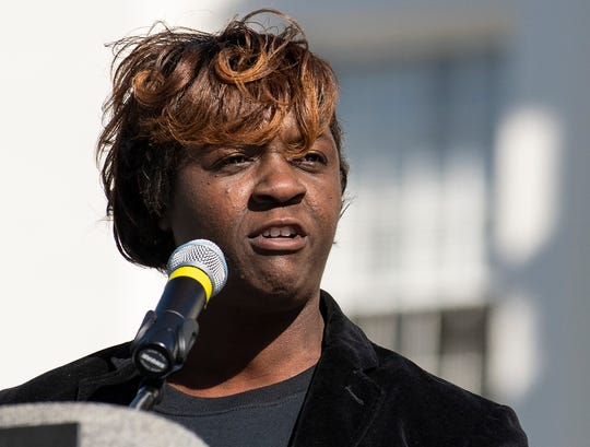 Rep. Tashina Morris speaks on the steps of the State Capitol Building during the Martin Luther King, Jr., day celebration in Montgomery, Ala., on Monday January 20, 2020.