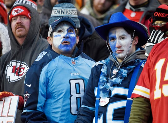 Tennessee Titans fans react late in the 35-24 loss to the Kansas City Chiefs in the AFC Championship game at Arrowhead Stadium Sunday, Jan. 19, 2020 in Kansas City, Mo.