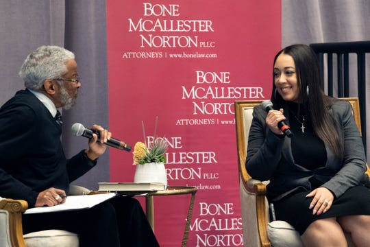 Judge Richard Dinkins and Cyntoia Brown-Long speak during the 19th Annual MLK Fellowship Breakfast at the Tennessee State Museum Monday, Jan. 20, 2020, in Nashville, Tenn.