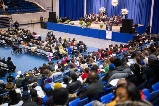 Tennessee State University President Glenda Glover speaks during the MLK Day Convocation organized by the Interdenominational Ministers Fellowship at Tennessee State University Monday, Jan. 20, 2020, in Nashville, Tenn.