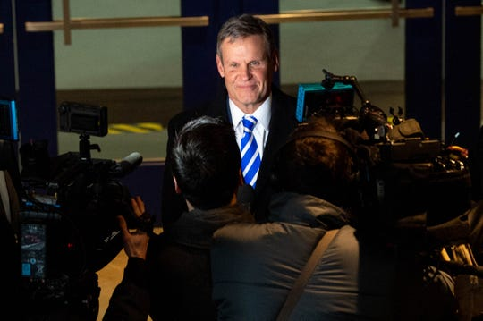 Gov. Bill Lee speaks to reporters during the MLK Day Convocation organized by the Interdenominational Ministers Fellowship at Tennessee State University Monday, Jan. 20, 2020, in Nashville, Tenn.