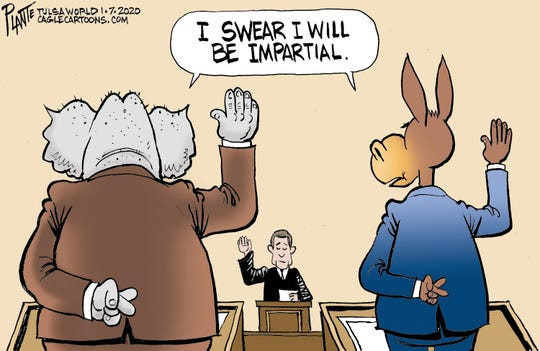 Senators' fingers-crossed oath.