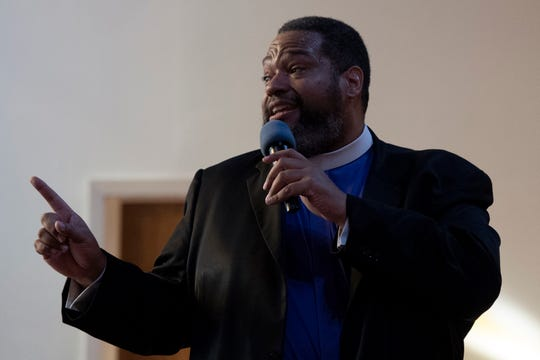 Ebenezer Baptist Church in Englewood commemorated MLK Day 2020 with a worship service on January 20, 2020. Bishop Dwayne D. Royster of Washington D.C. delivers a message during the service.