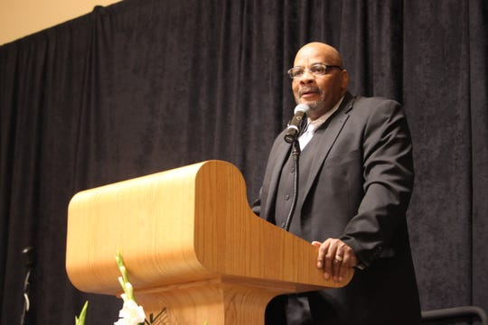 Pastor Michael Grady give the keynote address at the annual Martin Luther King Jr. Day Breakfast in Las Cruces on Jan. 20, 2020. Grady's daughter was among the surviving victims of the Aug. 3 mass shooting at an El Paso Walmart.