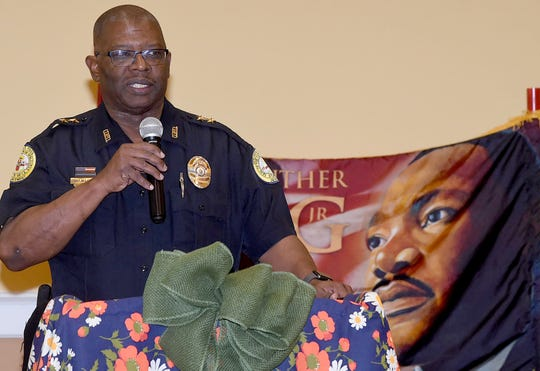 Opelousas Police Chief Martin McLendon addresses the audience at Monday's Martin Luther King, Jr. celebration.
