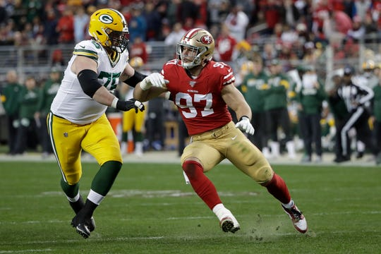 Packers offensive tackle Bryan Bulaga blocks 49ers defensive end Nick Bosa during the first half of the NFC championship game.