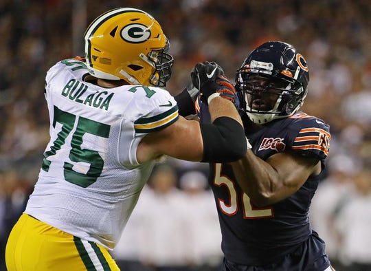 Green Bay Packers offensive tackle Bryan Bulaga blocks Chicago Bears' Khalil Mack on Sept. 5, 2019, at Soldier Field in Chicago.