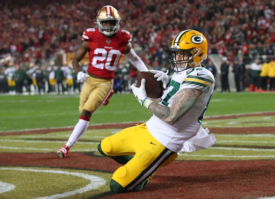Jan 19, 2020; Santa Clara, California, USA; Green Bay Packers tight end Jace Sternberger (87) scores a touchdown against the San Francisco 49ers during the second half in the NFC Championship Game at Levi's Stadium. Mandatory Credit: Cary Edmondson-USA TODAY Sports
